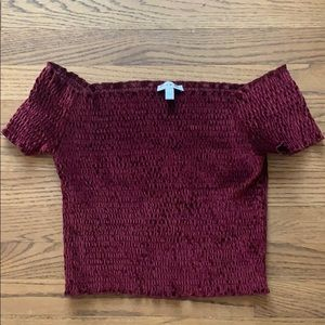 Urban Outfitters velvet smocked top